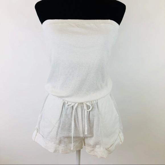 f123b7163b7 Splendid Pants - Splendid White Strapless Shorts Romper Beach Cover